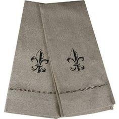 fleur de lis decorative bath towels | ... .com: Set of 2 Oatmeal Fleur de Lis Fingertip Towels: Home & Kitchen