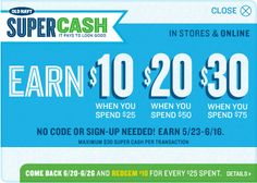 Old Navy – Super Cash . Earn $10 $20 $30