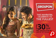 @groupon (NearBuy) #offers Get #Extra 30% Off on #Food, #Clothes and #Dandiya Party products. Max. Discount of Rs.300, Valid Till 18th October 2015. Coupon Code – FESTIVE http://www.paisebachaoindia.com/get-extra-30-off-on-food-clothes-and-dandiya-party-groupon/