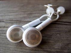 iPod earphones headphones earrings apple geek jewelry mac white grey upcycled recycled geekery for her geeky girl. $26.00, via Etsy.