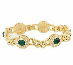 Jacqueline Kennedy Simulated Emerald Hex-Link  Bracelet