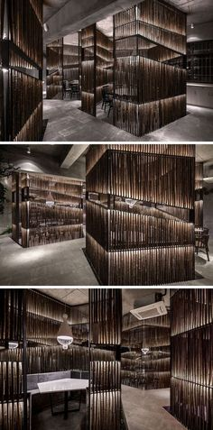 This New Restaurant In China Creatively Uses Bamboo Throughout Its Interior Bamboo has been heavily used throughout this modern restaurant. In the dining areas, bamboo is used to create private spaces for small groups. Italian Interior Design, Restaurant Interior Design, Shop Interior Design, Cafe Design, Design Design, Bamboo Architecture, Architecture Design, Residence Senior, Pub Decor