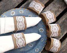 Servilleteros de arpillera blanco Vintage encaje - juego de seis