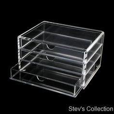 MUJI Acrylic Multipurpose Makeup Organizer Case Small 3 Drawers | eBay