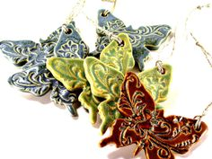 Ceramic Butterfly Ornament by Melinda Marie Alexander from Ravenhillpottery, $11.00 #Ceramic #Butterfly #Ornament #Christmas Ornament #Holiday Ornament #Home #Decor #Kids #Room #Gift #Green