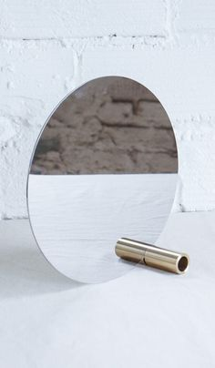 Disc Mirror with Brass Tube from Spartan Industrial Mirrors, My Mirror, Design Reference, Store Design, Hallway Furniture, Decoration, Home Furnishings, Home Accessories, Home Goods