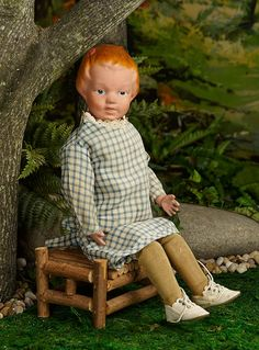 """""""I Only Wanted to Wonder"""" - August 1, 2017: 207 American Carved Wooden Doll Smiling Expression, Sculpted Hair, by Schoenhut"""