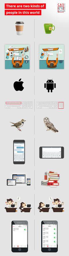 I like neither coffee or tea, I am organized, I like android, I like the number columns one, I like owls, I like my phone horizontal, I like books, I am a night person, I have a dozen alarms to wake me up!