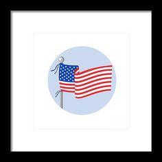Usa Flag Stars And Stripes On Flagpole Circle Cartoon Framed Print by Aloysius Patrimonio.  Illustration of usa american stars and stripes flag on flagpole set inside circle done in cartoon style. #illustration #UsaFlag