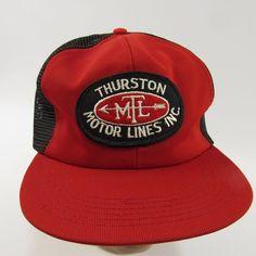 e888efead6a Thurston Motor Lines Vintage Hat Ball Cap Adjustable Snapback Trucker Mesh  Red