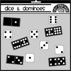 This is a collection of black and white dice faces and one set of double nine dominoes. Graphics are 300 dpi, PNG format. 61 images are included fo...