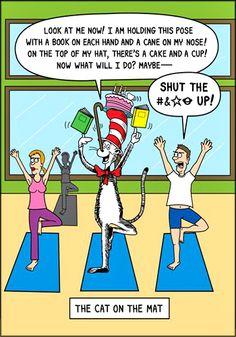 Yoga Cartoon Fun: The Cat on the Mat  (yoga fun, humour & laughter) .... #yogafun #yogacartoon #yogahumour #yoga #om