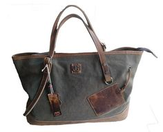 Canvas Leather Tote Bag