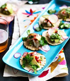 Australian Gourmet Traveller recipe for mini guacamole and crab tacos.