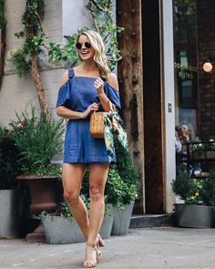 Chambray all the way. We love how our partner @styledsnapshots paired our cold shoulder top and shorts.… #AnnTaylor #MarketDistrict #Boston