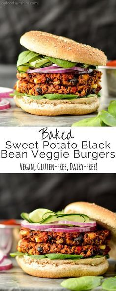Excellent Baked Sweet Potato Black Bean Veggie Burgers are vegan, gluten-free and freezer-friendly! The post Baked Sweet Potato Black Bean Veggie Burgers are vegan, gluten-free and freezer-friendly! appeared first on Kiynos Recipes . Veggie Recipes, Whole Food Recipes, Cooking Recipes, Healthy Recipes, Free Recipes, Beans Recipes, Grain Free Veggie Burger Recipe, Vegan Burger Recipes, Vegetarian Sweet Potato Recipes