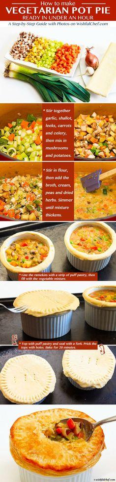 Vegetarian Pot Pie Recipe Ready In Under An Hour Httpswishfulchefcom Healthy Vegetarian Vegetarian R 2 Veg Recipes, Whole Food Recipes, Dinner Recipes, Cooking Recipes, Healthy Recipes, Rhubarb Recipes, Dinner Ideas, Healthy Food, Vegetarian Cooking