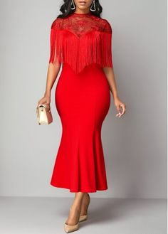 Party Dresses For Women Ruffle Hem Tassel Embellished Lace Patchwork Dress Half Sleeve Dresses, Day Dresses, Dresses Online, Blue Dresses, Casual Dresses, Fitted Midi Dress, Lace Dress, Hot Dress, Maxi Outfits