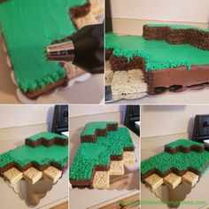 How to Make and Decorate a Minecraft Landscape Birthday Cake - DustinNikki Mommy of Three cake ideas boys Minecraft Torte, Minecraft Pasta, Pastel Minecraft, Minecraft Birthday Cake, Easy Minecraft Cake, Minecraft Cupcakes, Tnt Minecraft, Minecraft Printable, 8th Birthday Cake