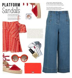 """""""Stand Up! Platform Sandles"""" by lilastrauss ❤ liked on Polyvore featuring Tanya Taylor, Soludos, Alexander McQueen, TIBI, Hadaki, Miss Selfridge, Christian Dior, OPI, Bobbi Brown Cosmetics and platforms"""