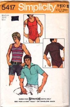 Mens Sewing Patterns, Simplicity Sewing Patterns, Vintage Patterns, Mens Leotard, Pop Culture Shop, Man Set, Sports Shirts, New Outfits, Menswear
