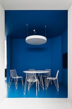 stencil, design, meeting room, table, chairs, frame, outline, colour, blue, white, office, simple