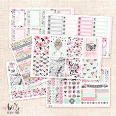This sticker collection is inspired by all things girly! Hand-painted original artwork by Hello petite paper.  Sticker set includes 6 sheets:  8 Full deco boxes* 8 Checklist boxes Washi strips and deco (17 stickers) Functional sheet (50+ stickers) 8 half boxes and 20 activity labels 36 Headers  * The deco boxes are available for the ECLP vertical, horizontal or Happy planner. The rest of the kit will remain the same.  MADE TO ORDER. Ships from Portugal, by priority airmail (FLAT RATE!) with…
