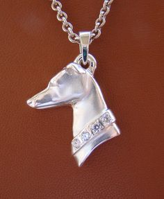 Large Sterling Silver Greyhound Head Study With A CZ by BestK9buds