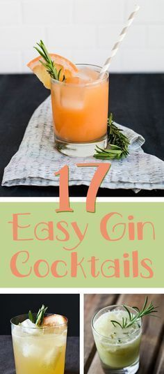 17 Creative Gin And Tonic Cocktails. 17 delicious ways to drink more gin! Easy Gin Cocktails, Gin Cocktail Recipes, Cocktail Drinks, Gin Und Tonic, Gin Recipes, Coctails Recipes, Easy Recipes, Non Alcoholic, Party Drinks