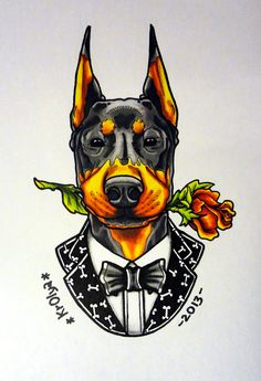 Doberman with rose tattoo sketch dog