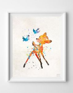 Bambi Print Bambi Type 2 Disney Watercolor Art by InkistPrints
