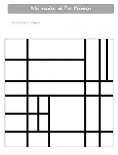 Mondrian: composition art... kids will have fun coloring this, even if they aren't into art as much as the guest of honor.: