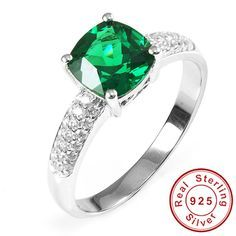 Nano Russian Emerald Engagement Wedding Ring Solid 925 Sterling Solid Silver Square Cut Amazing 2015 Brand New For Women Dressional #dressional