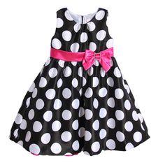 Toddler Girls Pink Black Polka Dot