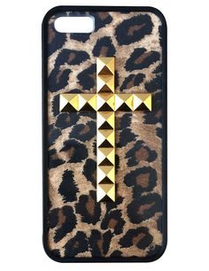 Cheetah Gold Studded Cross iPhone 5/5s case