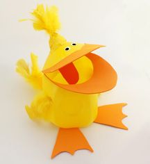 Milk Jug Duck Craft for Kids Tutorial, (cut a hole in the mouth to create a ball catch game)