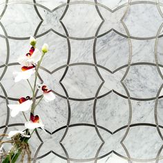 Moirai Carrara Marble and Metal Tile   Tilebar.com