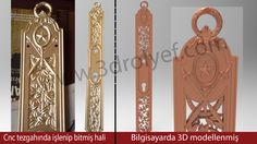 Kapı kolu aynası. Classic door handle 3d releief design. 3d relief