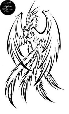 Phoenix Tattoo idea. Absolutely love it, just needs to be in color with the wings more open!