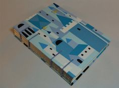 Handmade Fabric Journal  Coptic Stitched  Blue Town by BBhandmades, $32.00