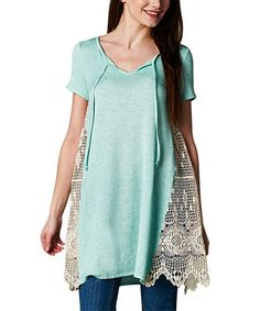 Loving this Mint Lace-Panel Tie-Neck Tunic on #zulily! #zulilyfinds