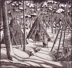 'The White Morning 5/75' by Henry Eric Bergman, wood engraving
