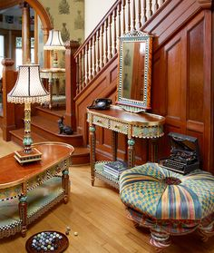 Fun (and somewhat funky) furnishing! This particular assortment of accent tables blends beautifully with antiques.