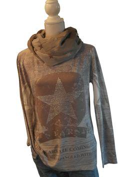 Lindsay Moda Pulli Sweatshirt Shirt grau Beige Creme Nieten Stern Schrift Floral