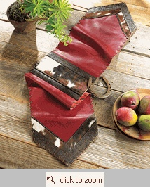 Red Leather and Cowhide Table Runner