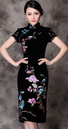 Velvet Embroidery Floral Short Cheongsam Dress                                                                                                                                                     More