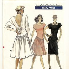 A Pullover, Dropped Waist, Straight / Flared Skirt, Cap / Long Sleeve, Back Twist Drape Dress Pattern