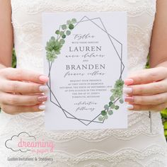 Succulents and Eucalyptus Greenery Wedding Invitation with Silver Geometric Terrarium