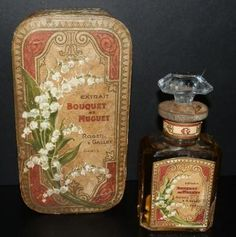 Cardboard Box & Perfume Bottle with Label reading 'Bouquet de Muguet Grand Prix Paris & decorated with Muguet (Lily of the Valley) Flowers . Antique Perfume Bottles, Vintage Bottles, Vintage Tins, Vintage Labels, Vintage Kitchen, Perfumes Vintage, Etiquette Vintage, Lily Of The Valley Flowers, Bottle Box