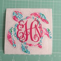 At checkout include a note to seller including:  1.) Your monogram (first, last, middle) 2.) Pattern choice for turtle 3.) font color choice
